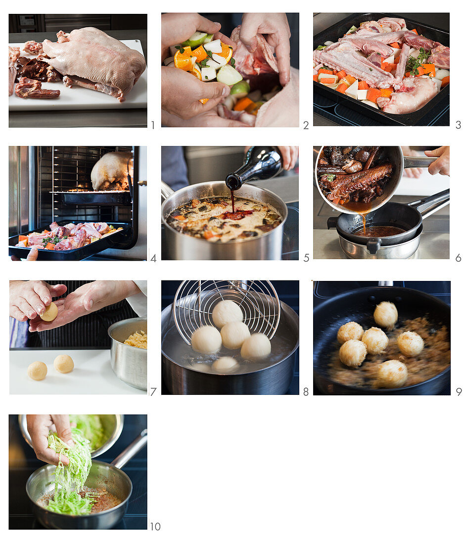 Roast goose with potato dumplings being made