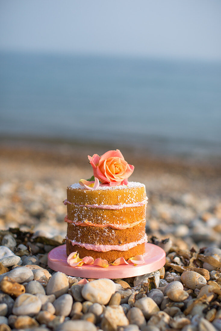 A layered cake decorated with a rose on a beach