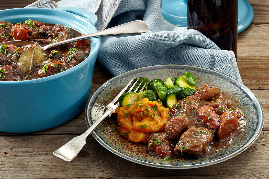 Beef stout casserole with chestnuts