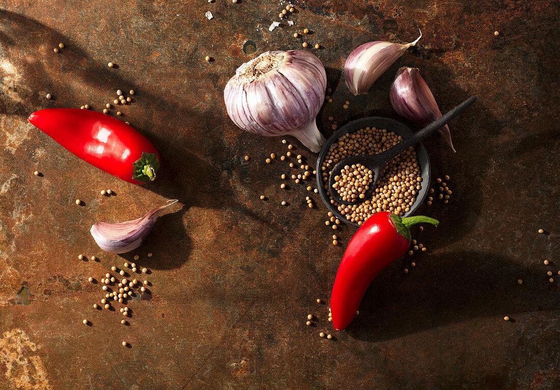 Ingredients for steak spice (chilli peppers, mustard seeds, garlic)