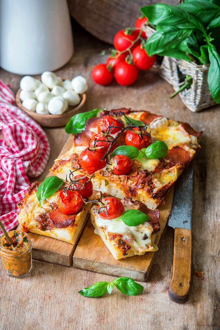 Foccacia with salami, red pesto and cheese