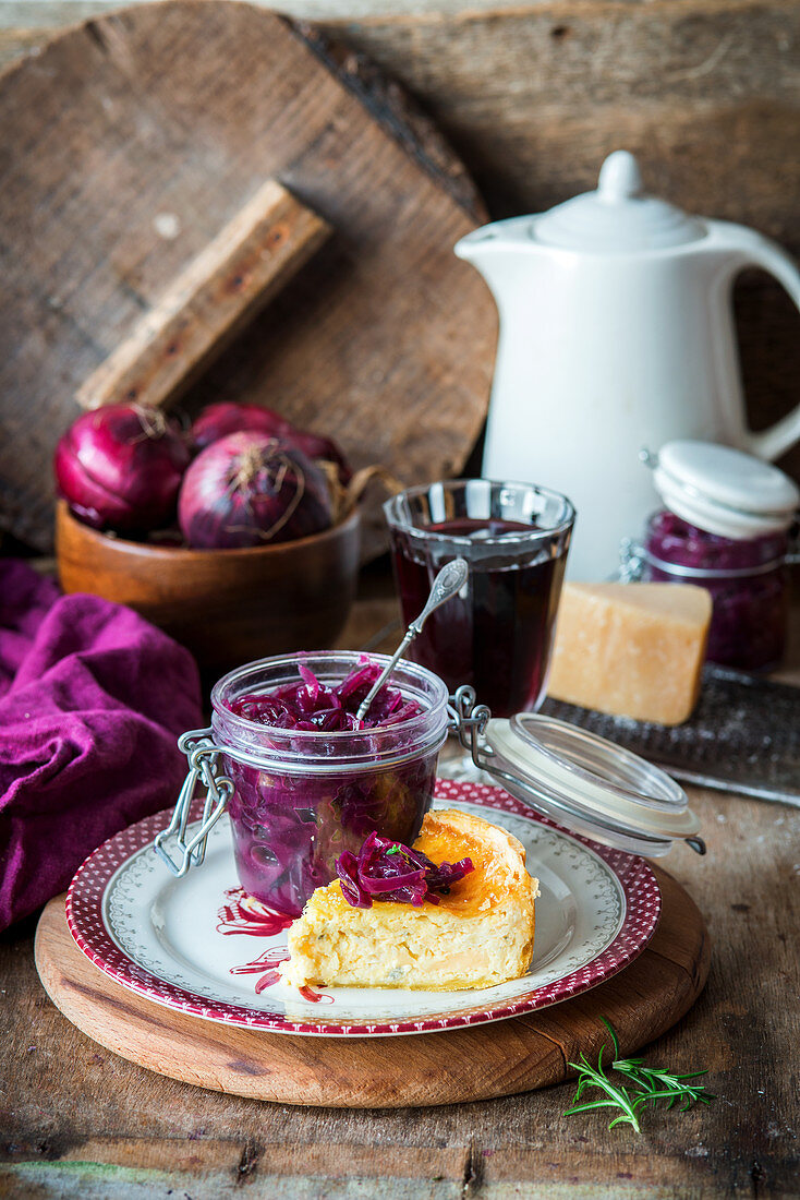 Red onion jam and cheese pie to serve