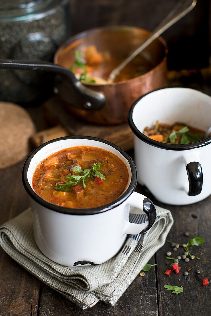 Lentil and chorizo soup