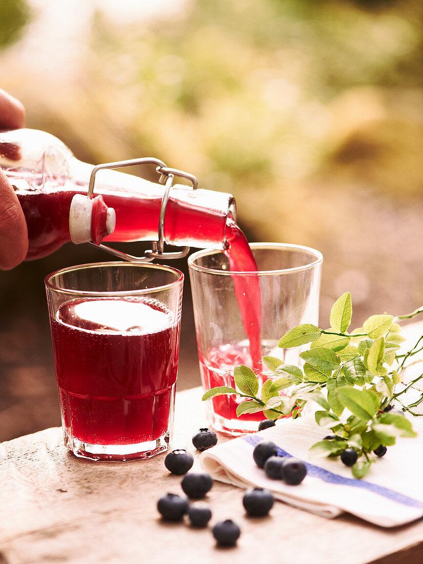 Blueberry syrup with lemon juice