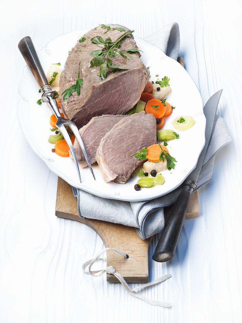 Prime Vienna-style boiled beef, sliced on a serving platter