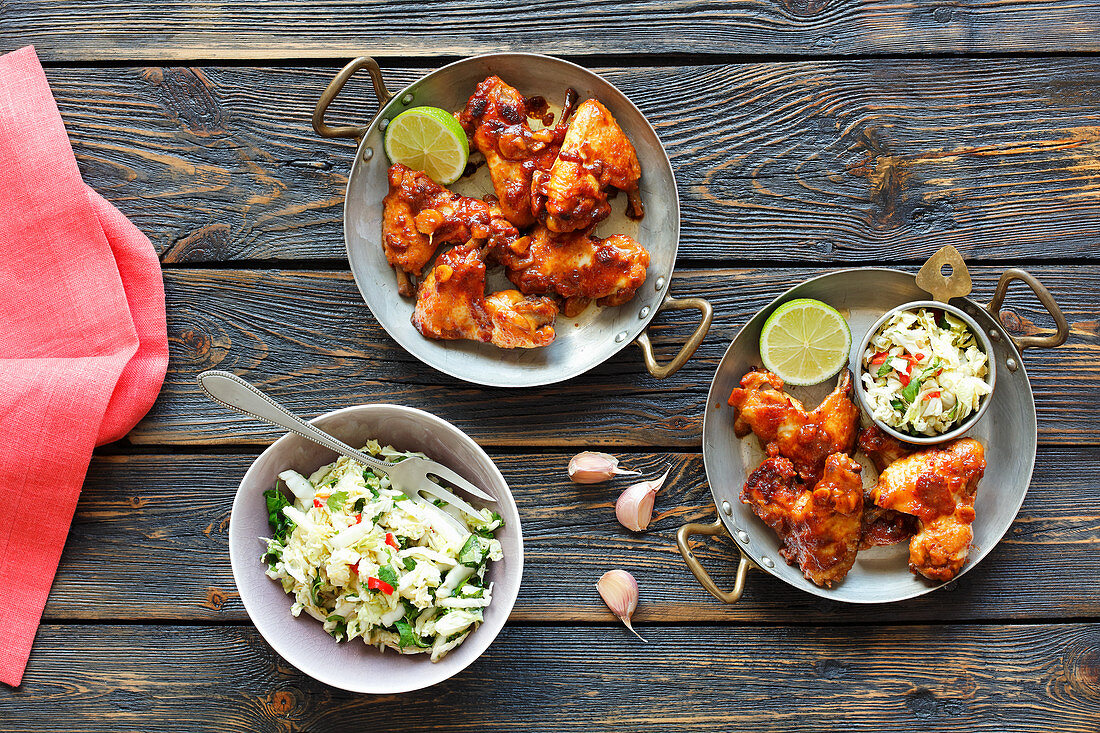 Chicken wings in honey and mustard marinade served with a Chinese cabbage salad