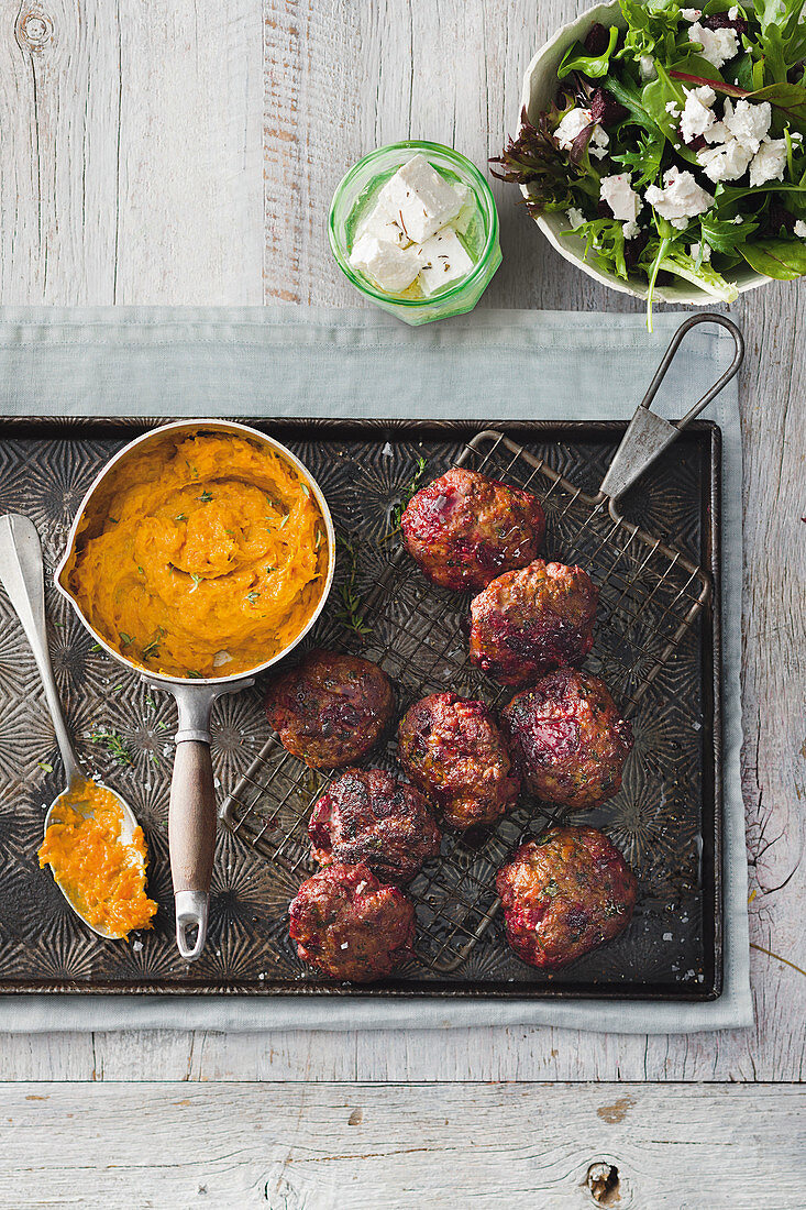 Beef and beetroot rissoles with pumpkin mash