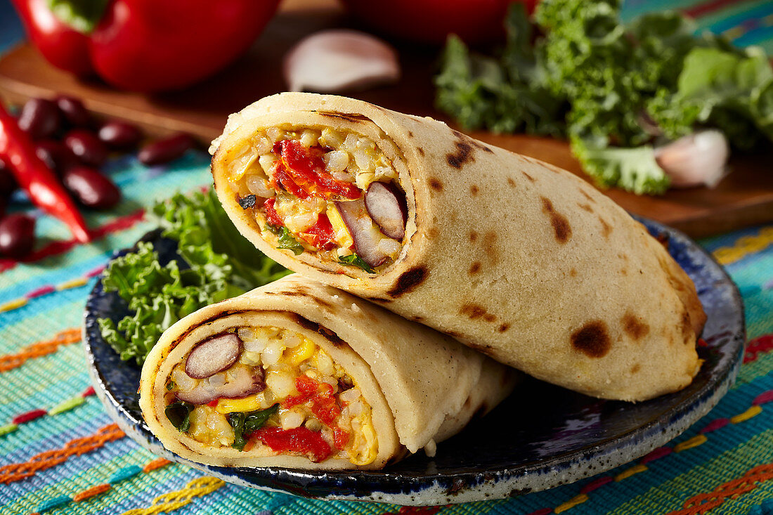 Mexican pancakes filled with rice and vegetables