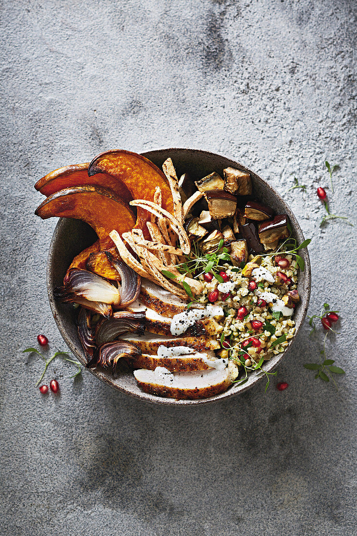 Moroccan chicken bowl with freekeh and pumpkin