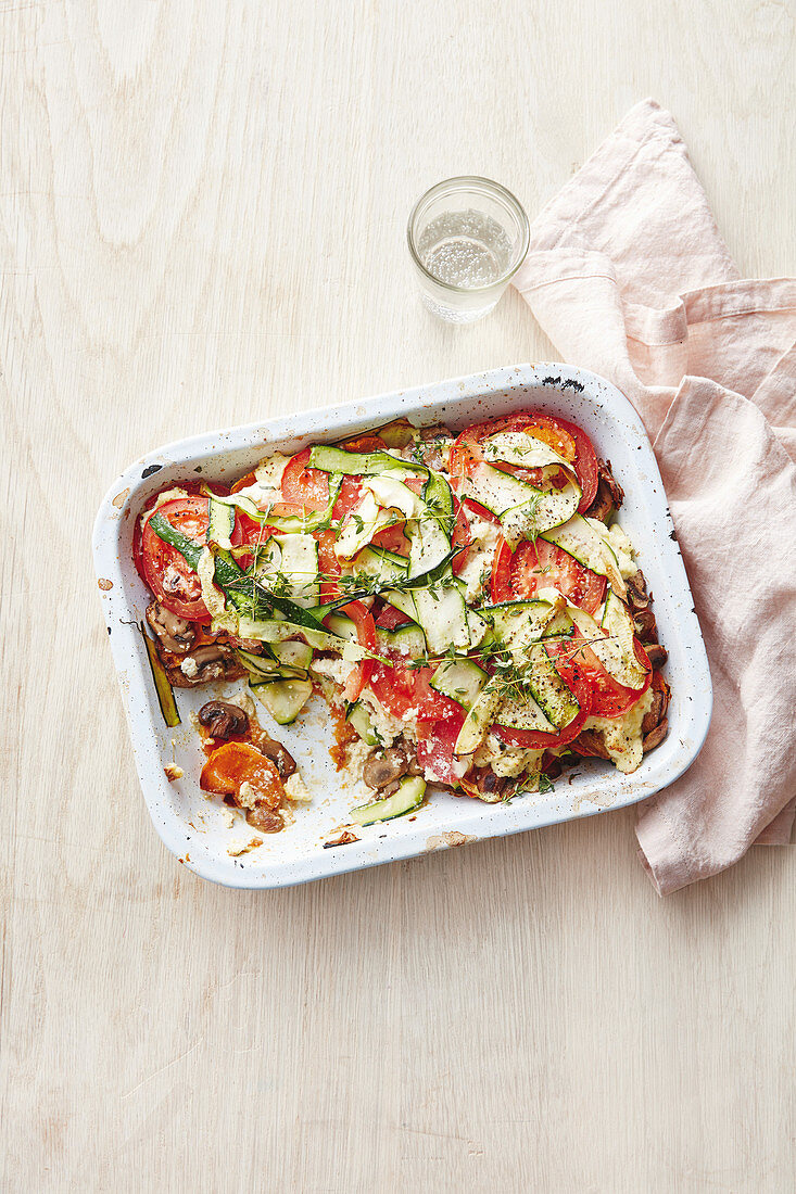 A colourful vegetable bake with courgette and tomatoes