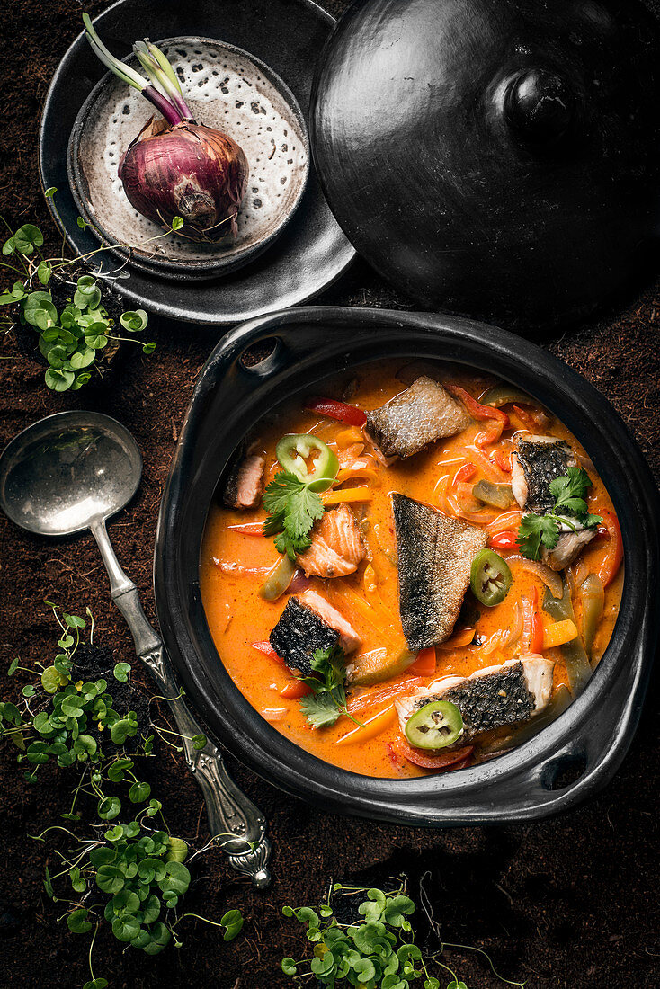 A pot of fish curry