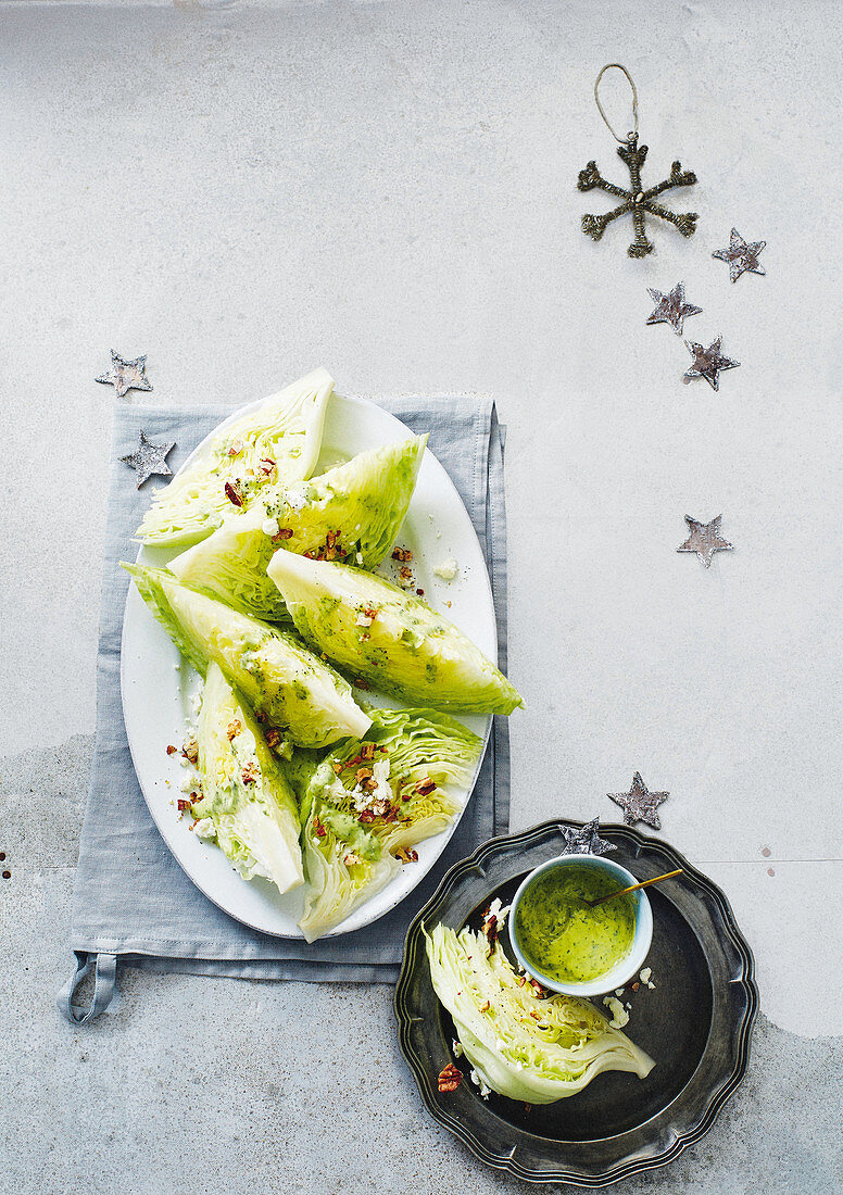 Iceberg lettuce with and avocado and herb dressing (Christmas)