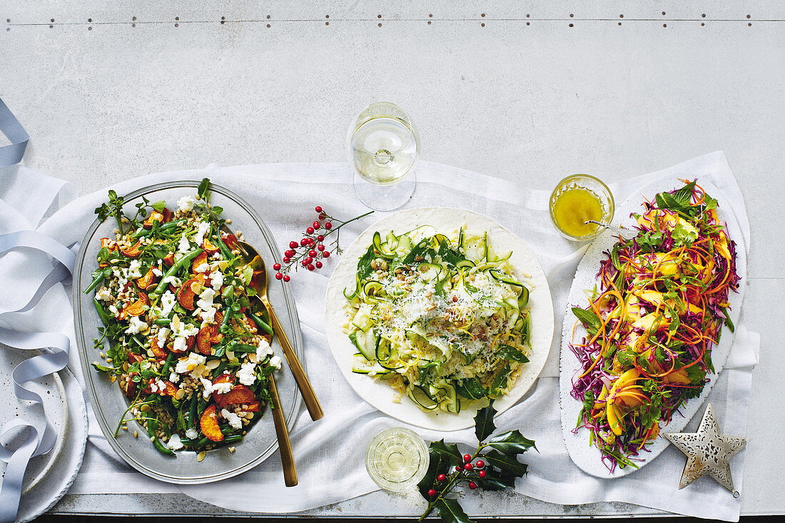 Barley and sweet potato salad with green beans, courgette and risoni salad, and mango and cabbage salad with lime and jalapeño dressing (Christmas)