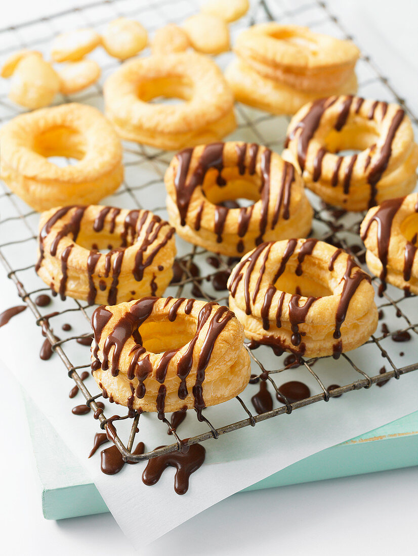 Croissant doughnuts with chocolate glaze