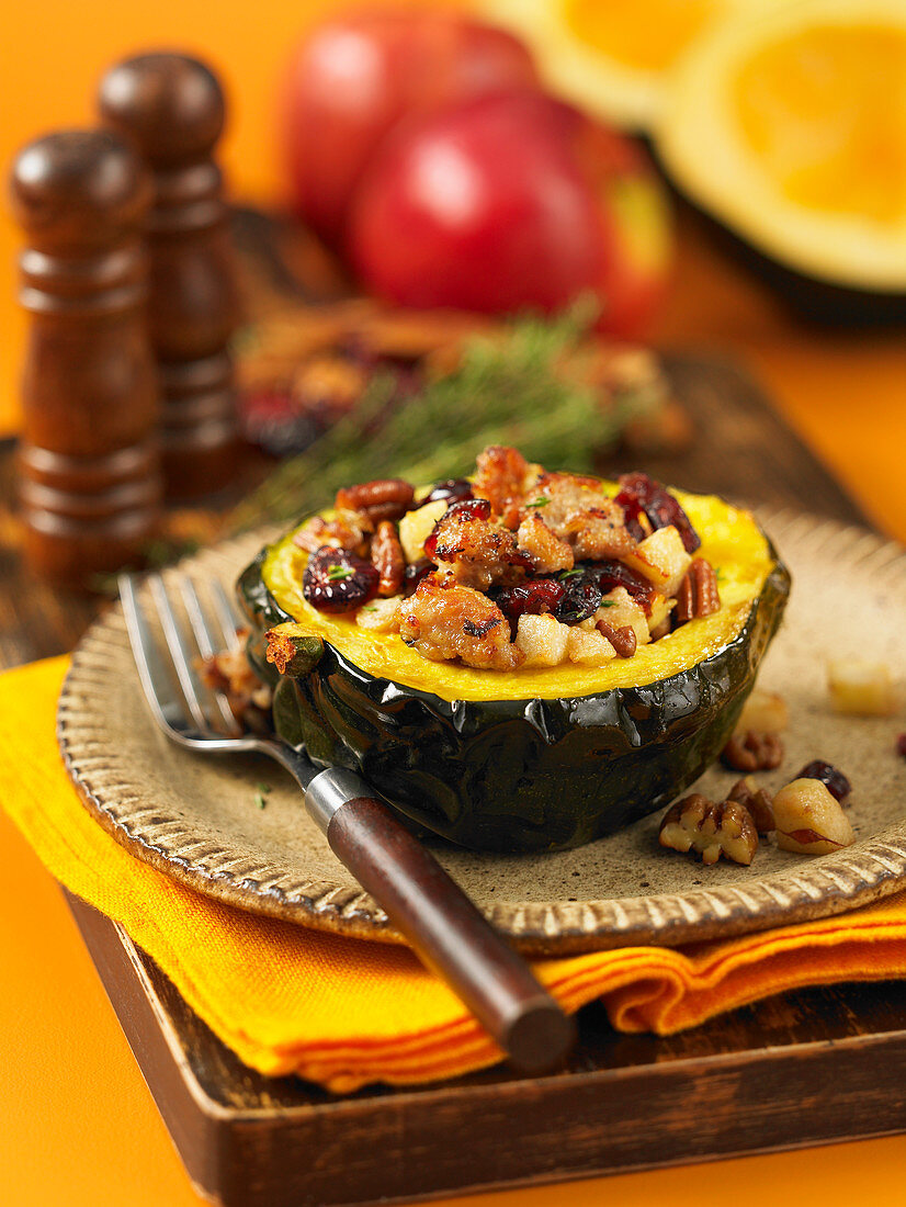 Stuffed acorn squash with fruit and nuts