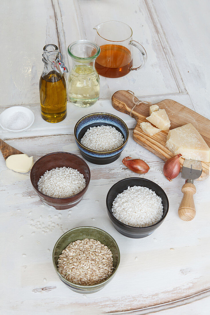 Ingredients for risotto with various types of rice