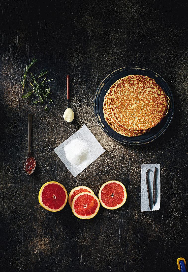 Caramelised citrus pancakes