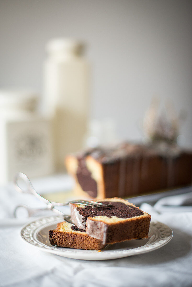 Marble cake on a white porcelain plate