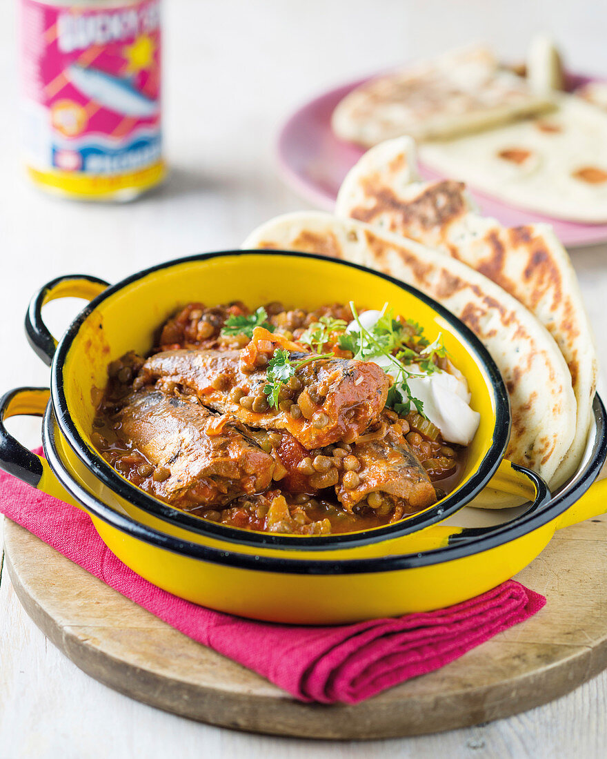Sardine curry with lentils