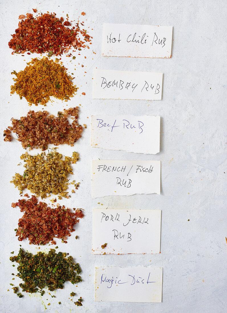 Various BBQ rubs