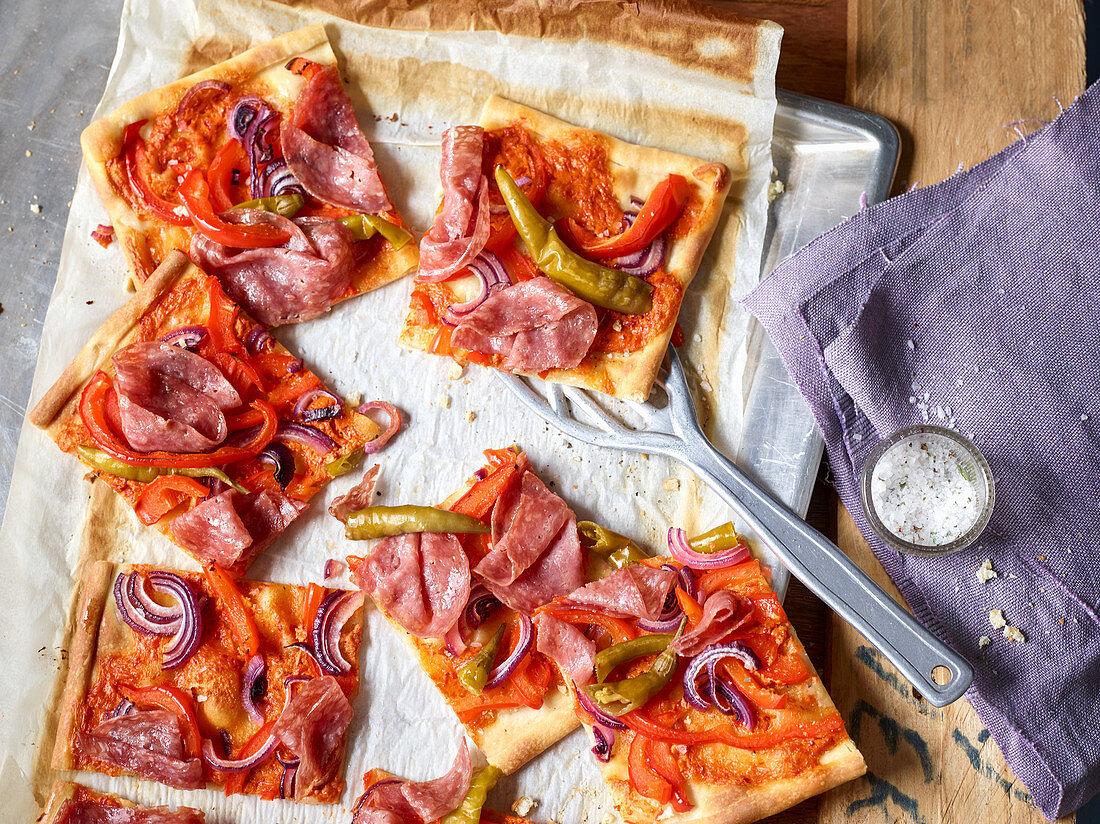Tarte flambée Diavolo with ajvar and salami