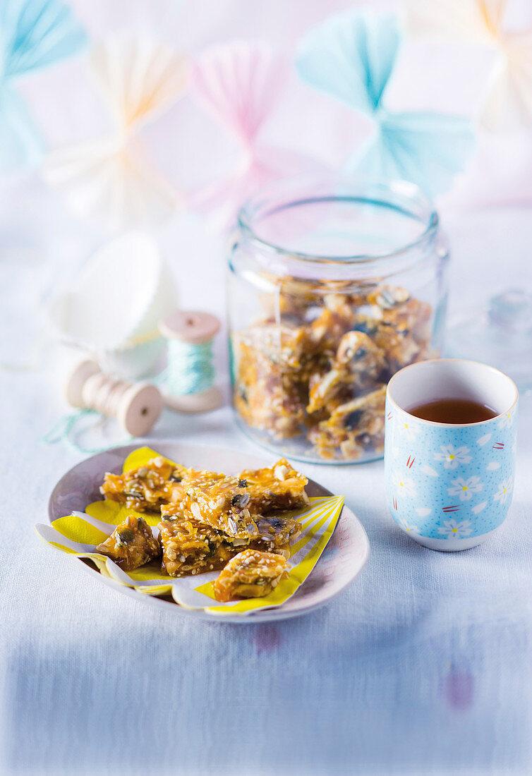 Peanut brittle with sesame, pumpkin, and sunflower seeds