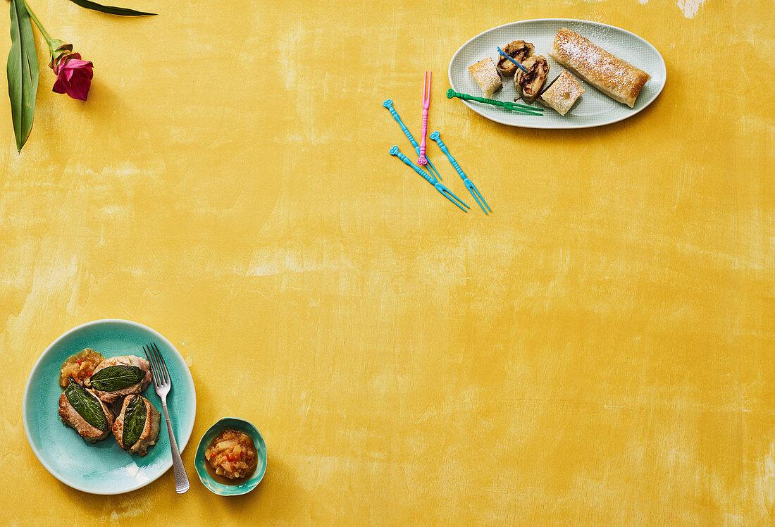 Pork loin and banana rolls (Ecuador)