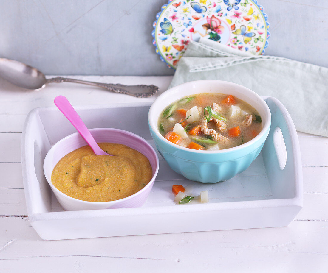 Semolina soup with vegetables for mum and mashed for baby
