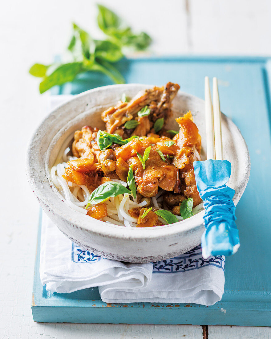 Indonesian style chicken with grapefruit and noodles