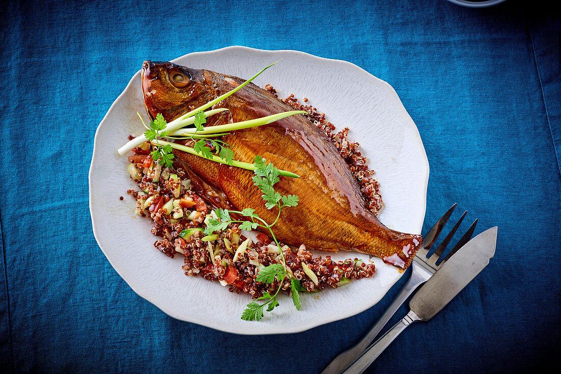 Smoked sea bream with quinoa salad