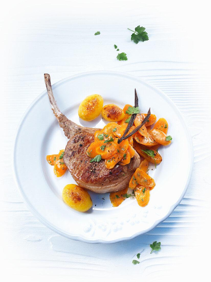 Vanilla carrots and a lamb chop