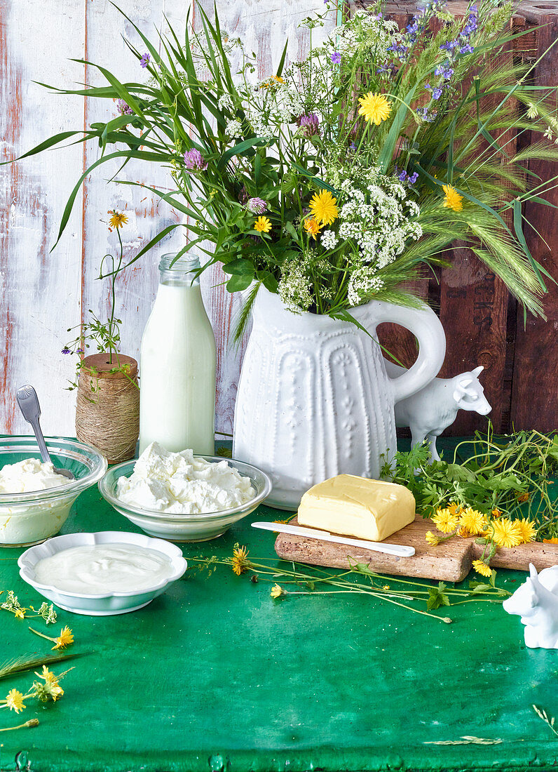 Various dairy products made from silage-free milk