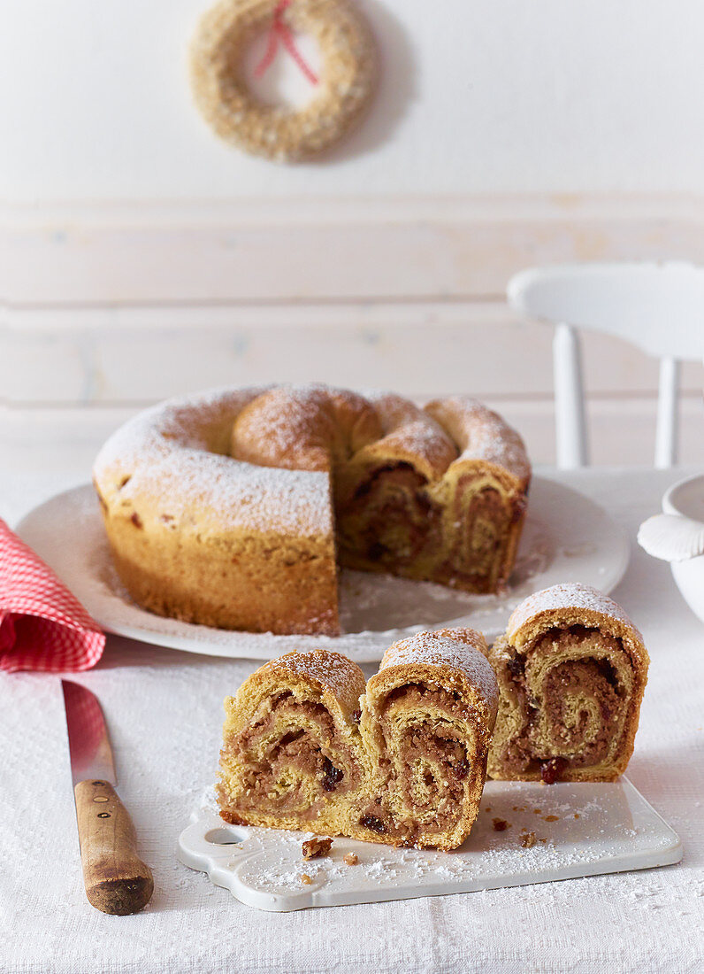 Kärntner Reindling (rolled yeast dough cake filled with sugar, cinnamon, raisins and butter from Austria)