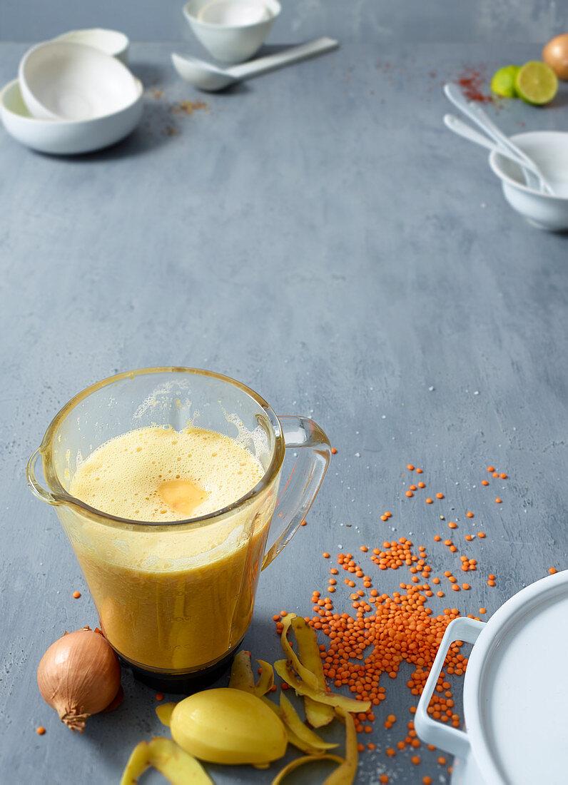 Lentil soup in a blender