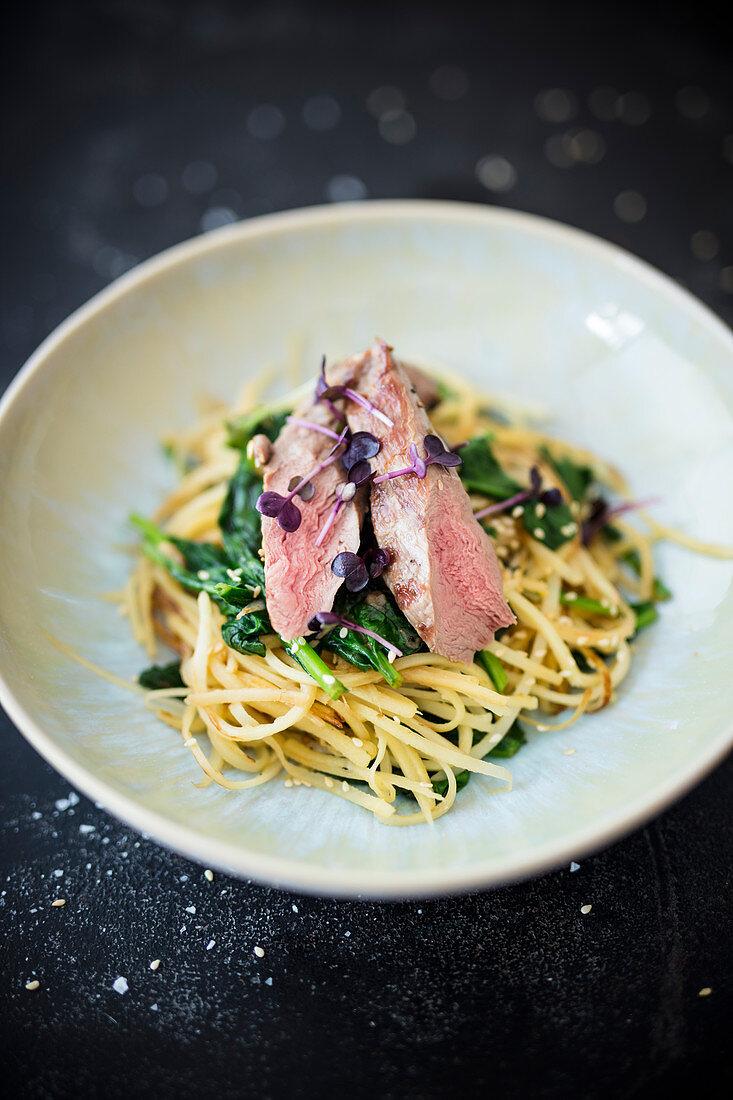 Lamb fillet with parsnip noodles