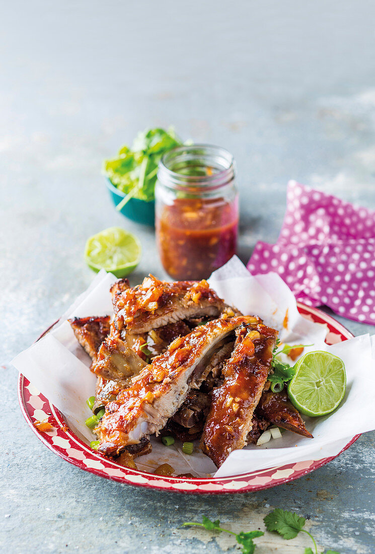 Pork ribs in a sweet and spicy pineapple marinade