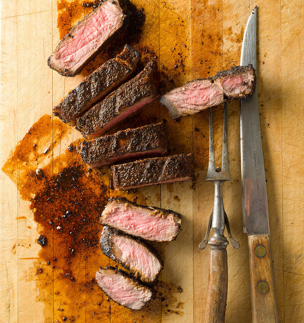 A steak with a coffee rub