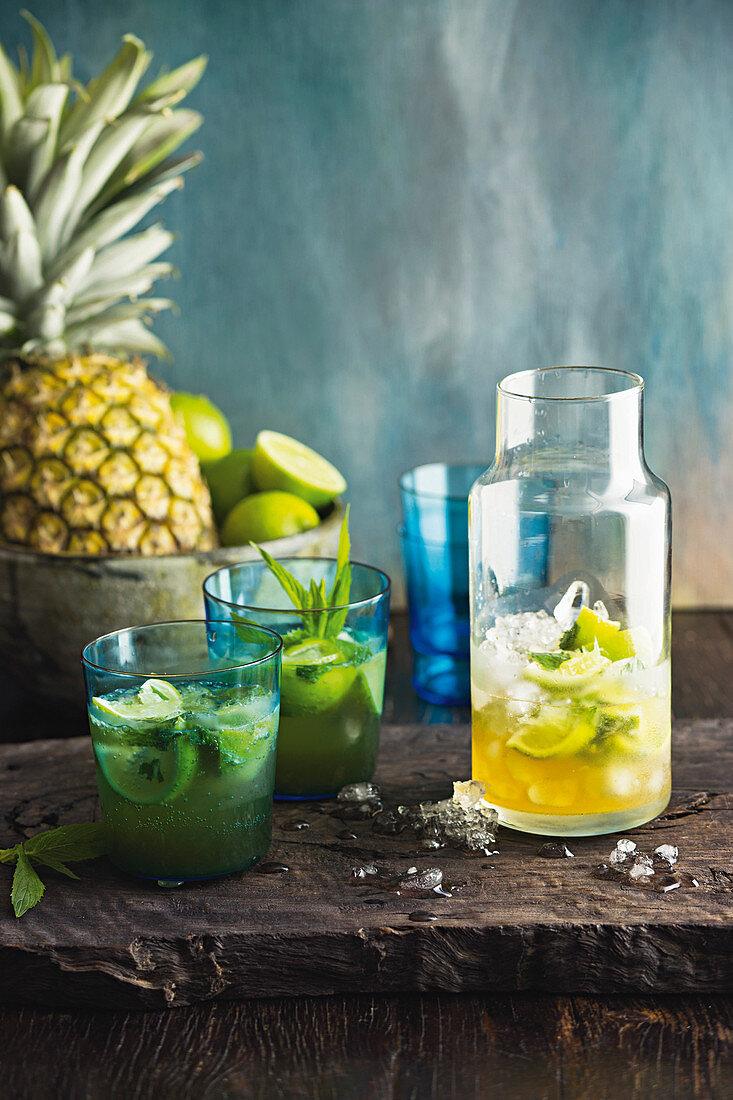 Lime and coconut caipirinha