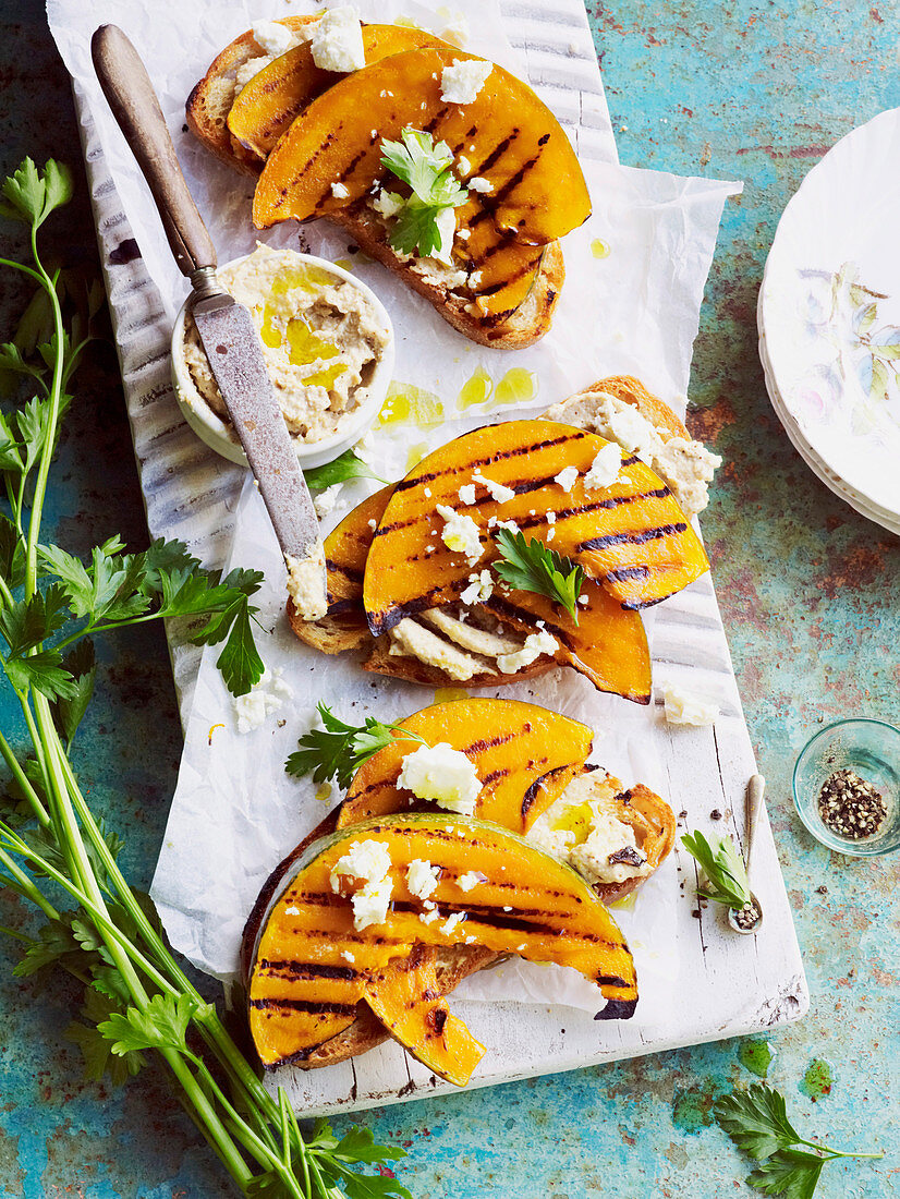 Almond skordalia and pumpkin bruschetta