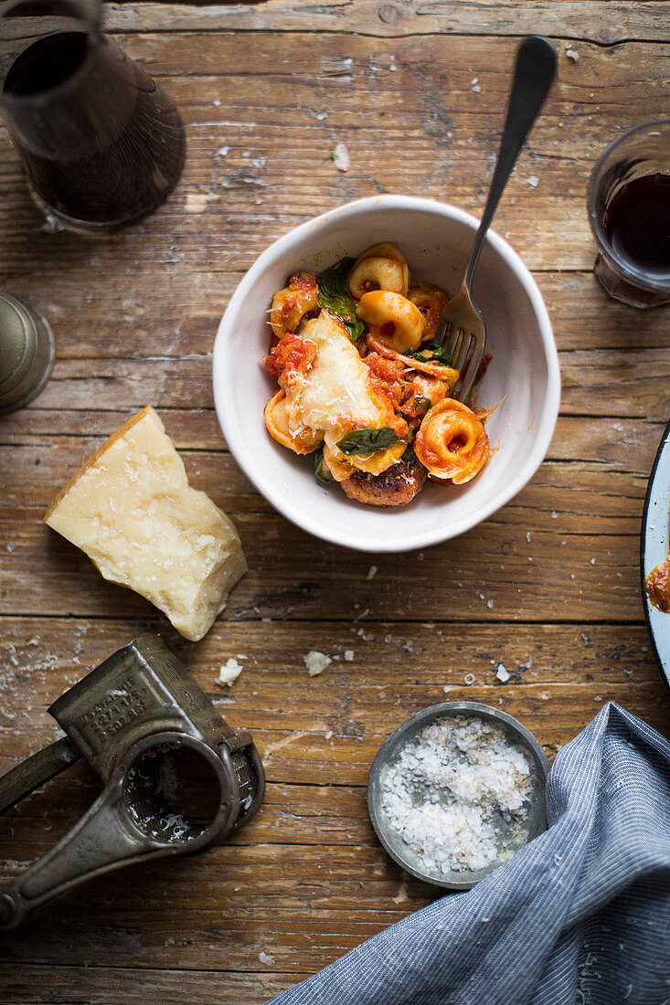 Tortellini with meatballs and Parmesan