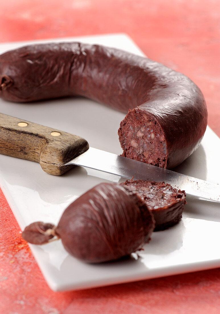 Mustardela, black pudding from the Piedmont region (Italy)