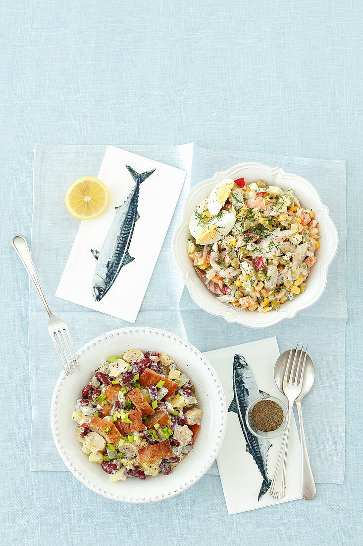 Cooked vegetable salads with smoked fishes