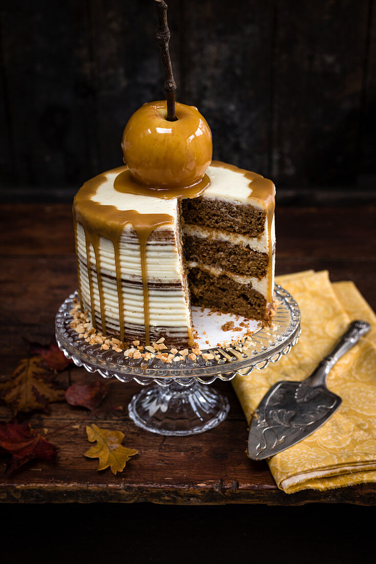 Apple layer cake with mascarpone frosting and toffee apple