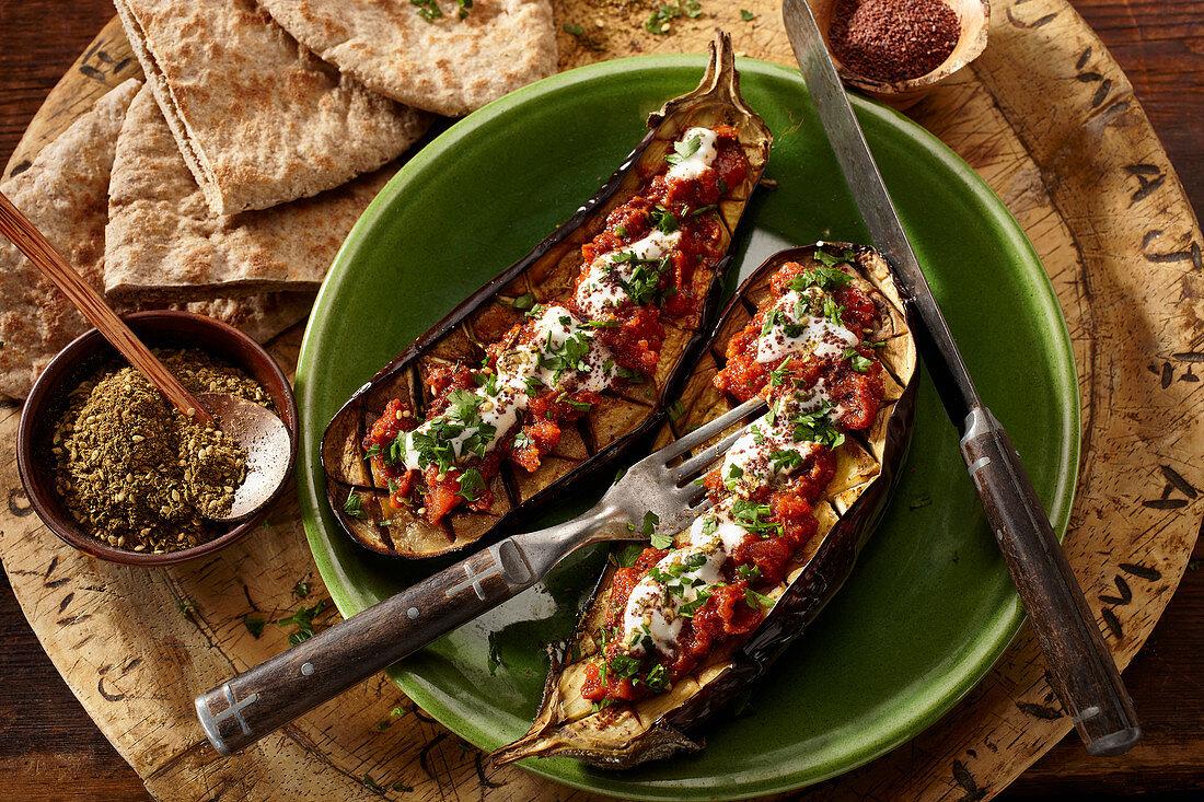 Imam Bayildi (stuffed, grilled eggplants, Turkey)