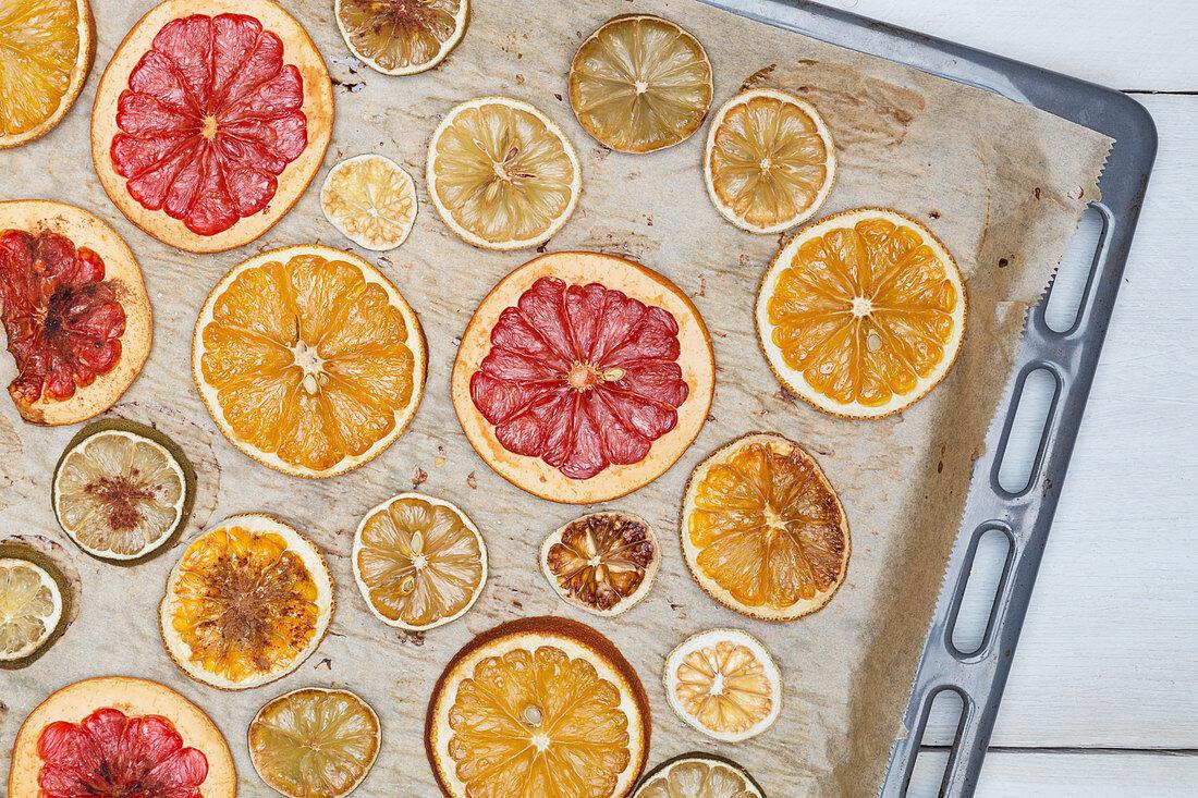 Dried oranges, lemons, limes and grapefruit