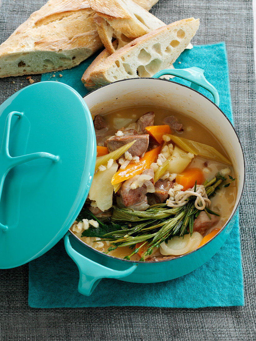 Lamb stew with carrots and barley