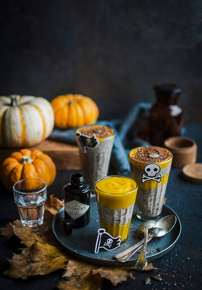 Quinoa and pumpkin pudding with gin