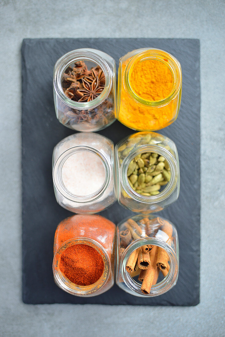 Kitchen spices in containers