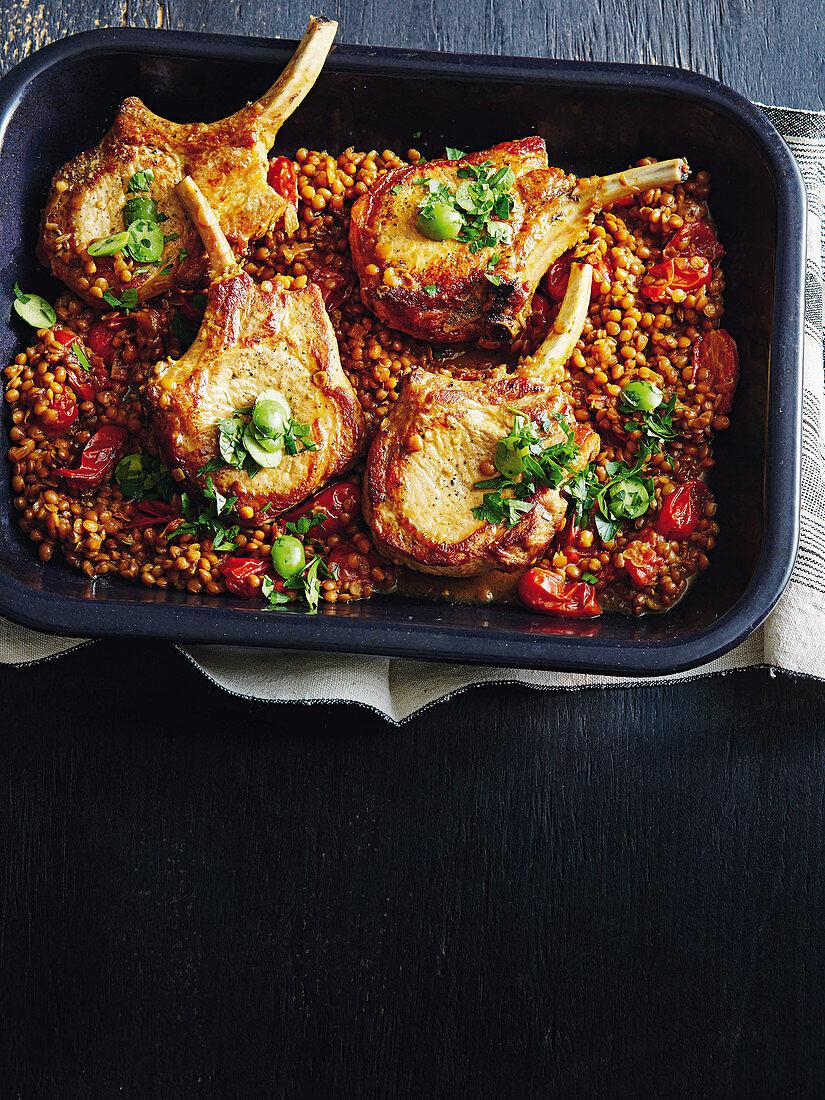 Lentil-braised pork with olive relish