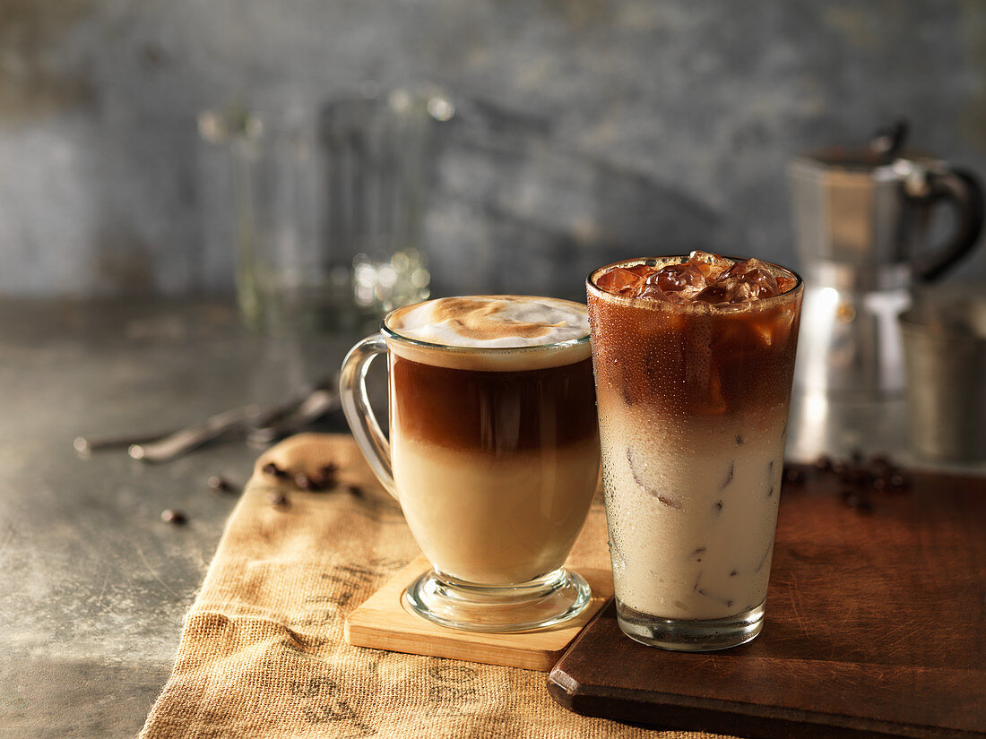Two coffee drinks